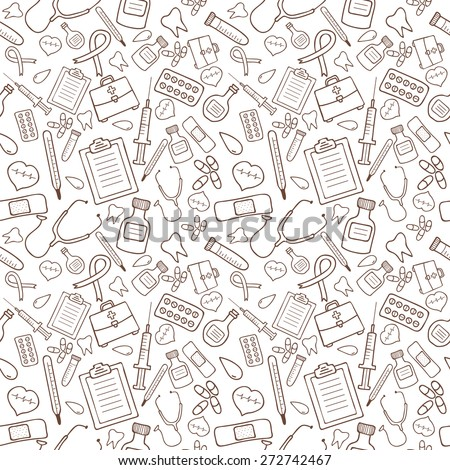 Seamless pattern with medical icons on white background. Vector illustration - stock vector