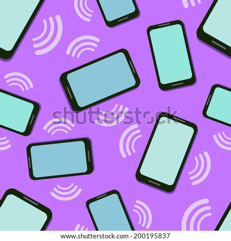 Seamless Pattern with Mobile Phones. Vector Cartoon Flat Design. - stock vector