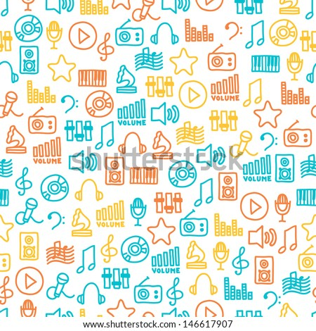 Seamless pattern with music elements - stock vector