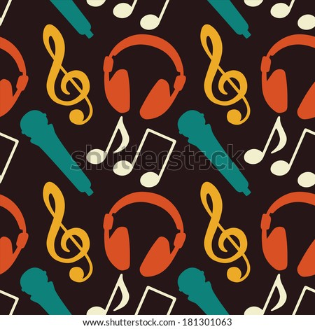 Seamless Pattern with Music Notes, Treble Clef, Microphone, Headphones - vector  - stock vector