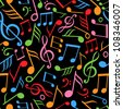 seamless pattern with music notes vector - stock vector