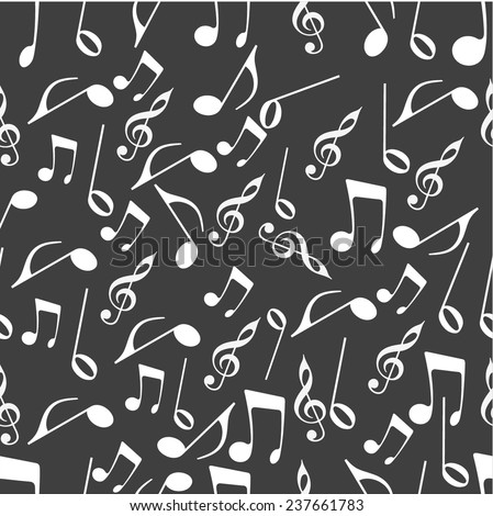 Seamless pattern with musical notes. - stock vector