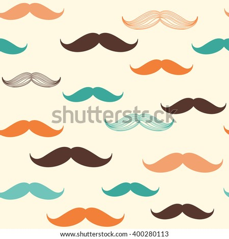 Seamless pattern with mustache for design in vintage, retro, hipster style - stock vector
