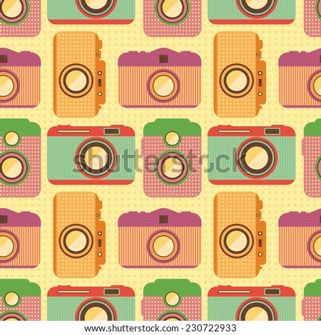 Seamless pattern with old cameras. Retro background. Soft colors. Repeat pattern. Wrapping. Vector illustration. - stock vector