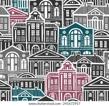 seamless pattern with old houses. vector illustration - stock vector
