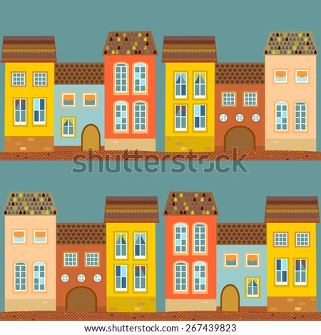 Seamless pattern with old houses with tiled roof. Blue, terracotta, orange, turquoise, beige background. Vector. - stock vector