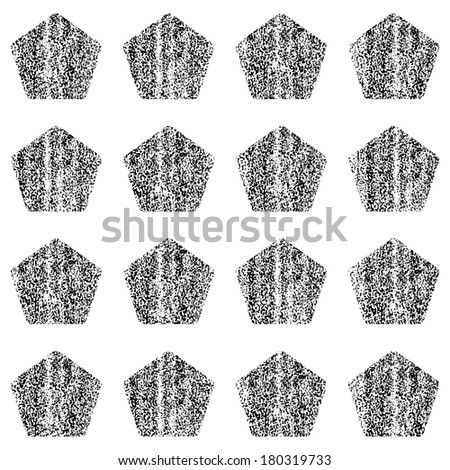 Seamless pattern with old painted damaged texture. Black color pentagon shape in white background. Geometrical traditional backdrop. Template swatch vector illustration graphic design element 8 eps - stock vector