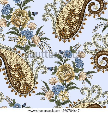 seamless pattern with openwork paisley, swirls, beige roses, small blue flowers, branch of mimosa on a light turquoise background - stock vector