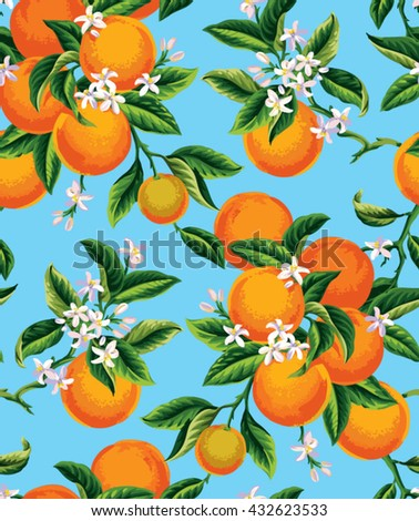 Seamless pattern with orange fruits, flowers and leaves on a blue background. Vector illustration. - stock vector