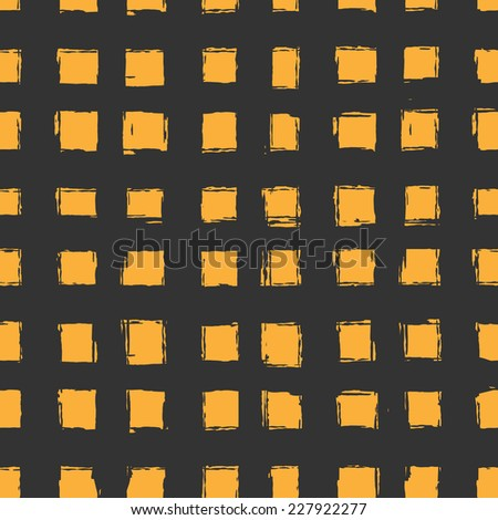 seamless pattern with orange hand-drawn squares. texture for web, print, wallpaper, textile and wraps - stock vector