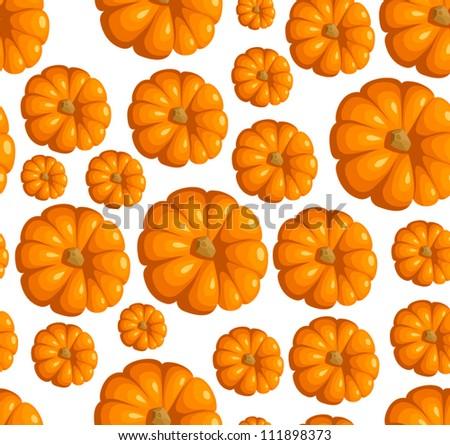 Seamless pattern with orange pumpkins. Vector illustration. - stock vector