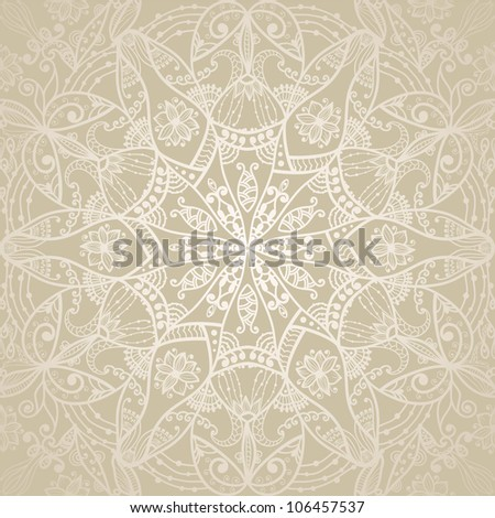 Seamless pattern With Ornamental Round Lace On Gradient Background - stock vector