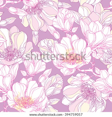 Seamless pattern with ornate magnolia flower, buds and leaves in white on the pastel background. Floral background in contour style. - stock vector