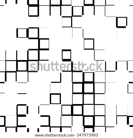 Seamless pattern with outline of random squares. Irregular mosaic background. - stock vector