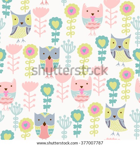 seamless pattern with owls and flowers - stock vector