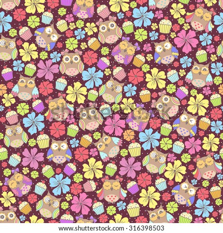 Seamless pattern with owls and flowers and cake on a dark background - stock vector