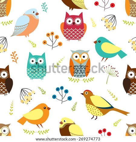 Seamless pattern with owls, birds and branches - stock vector