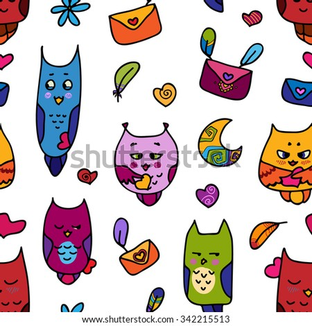 Seamless pattern with owls in love with letters and feathers, moon and hearts. A seamless pattern for St. Valentine's Day. Valentines Day card. - stock vector