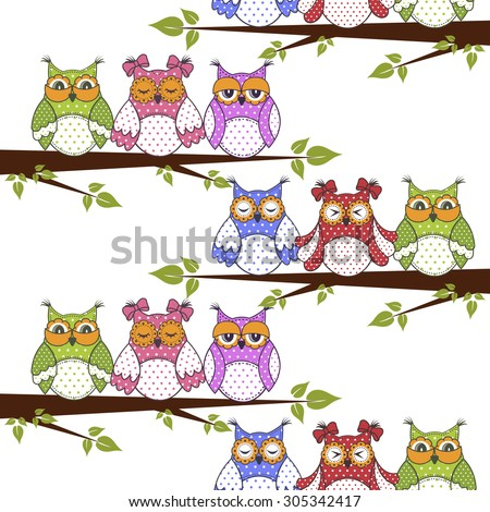 Seamless pattern with owls in the trees on a white background - stock vector