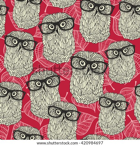 Seamless pattern with owls on the leaves background. Vector illustration of smart animal. - stock vector