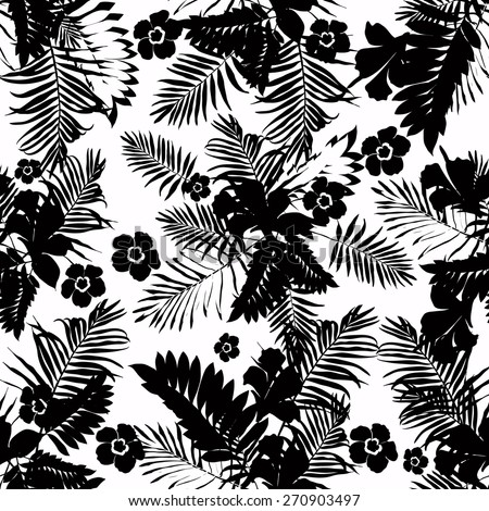 Seamless pattern with palm leaves.Black and white. - stock vector