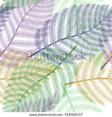 Seamless pattern with palm leaves, exotic. Vector halftone background, EPS10. - stock vector