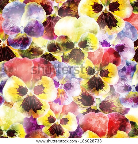 Seamless pattern with pansy flowers. Vector illustration, EPS 10  - stock vector