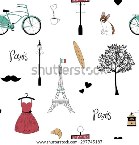 Seamless pattern with Paris symbols - stock vector