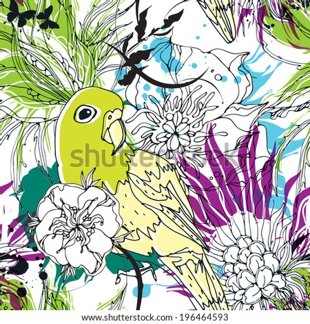 Seamless pattern with parrot, flowers and butterflies eps10 - stock vector