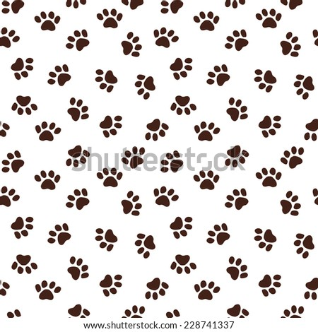 Seamless pattern with paw footprints. Vector seamless texture for wallpapers, pattern fills, web page backgrounds - stock vector