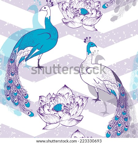Seamless pattern with peacock birds in vector - stock vector