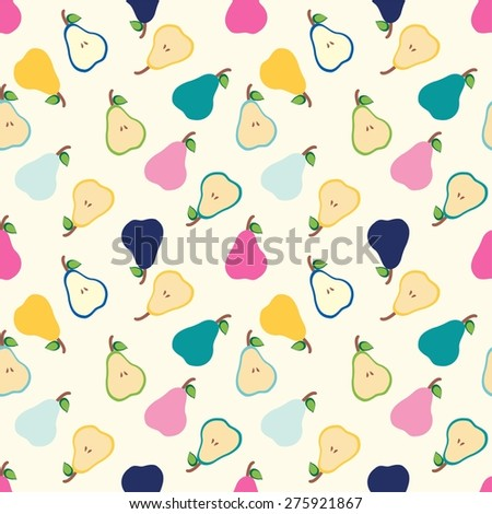 Seamless pattern with pears. Perfect for wallpapers, pattern fills, web page backgrounds, surface textures, textile. - stock vector