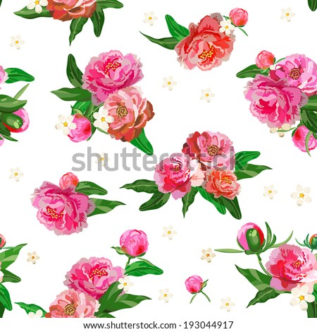 Seamless pattern with peonies. Peony. Flowers and buds. Wedding background. - stock vector