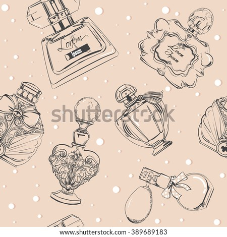 seamless pattern with perfumes - stock vector