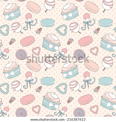 seamless pattern with pictures of desserts and sweets in pastel colors - stock vector