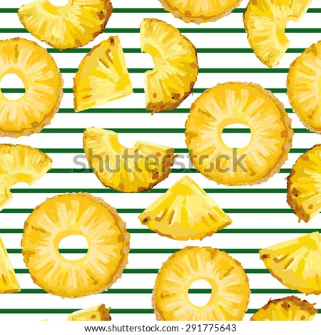 seamless pattern with pineapple slices on the green stripe - stock vector