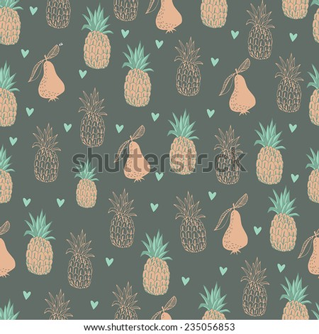 Seamless pattern with pineapples. Graphic stylized drawing.  - stock vector
