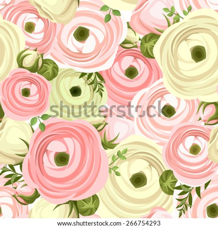 Seamless pattern with pink and white ranunculus flowers. Vector illustration. - stock vector