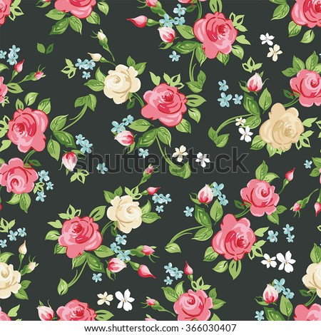 Seamless pattern with pink and white roses on black background, vector illustration - stock vector