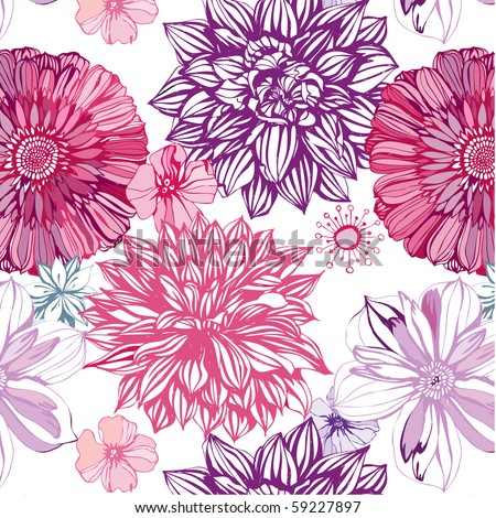 seamless pattern with pink asters and dahlia - stock vector