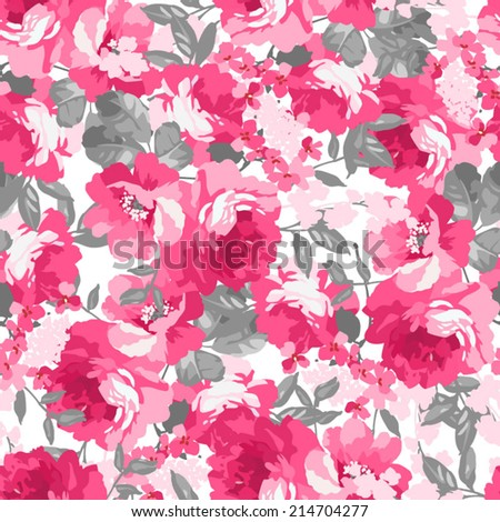 Seamless pattern with pink roses  Use to create fabric projects or design elements for scrap booking.  - stock vector