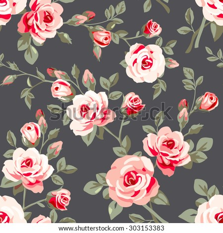 Seamless pattern with pink roses. Vintage floral background  - stock vector
