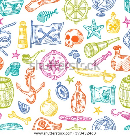 Seamless pattern with pirate elements. Hand drawn pirate elements made in vector. Map, flag, anchor, spyglass, lighthouse, roger, treasure, ahoy, bone, money, rum, bottle, palm, cannonball and other. - stock vector