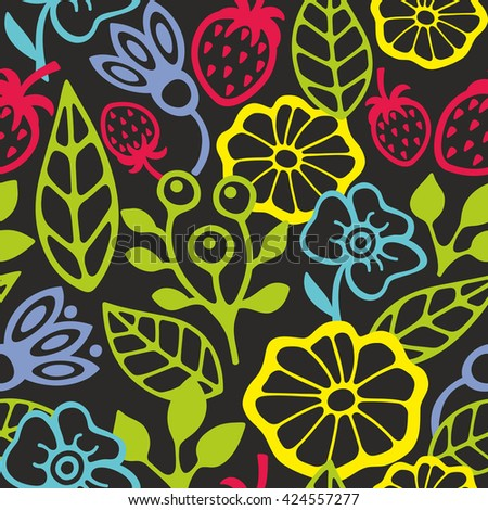 Seamless pattern with plants silhouettes. Vector illustration of summer. - stock vector