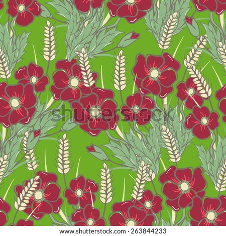 Seamless pattern with poppies and ears. Card design. Sketch. - stock vector