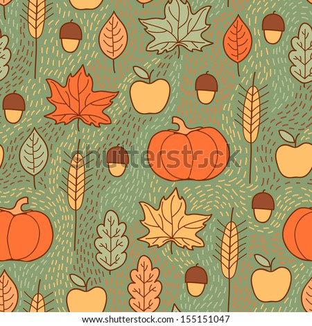 Seamless pattern with pumpkins, leaves, wheat and apples. Beautiful background for Thanksgiving. - stock vector