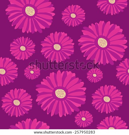 Seamless pattern with purple  gerbera flowers on dark background - stock vector