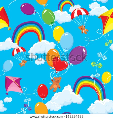 Seamless pattern with rainbows, clouds, colorful balloons, kite, parachute and teddy bears on sky blue background. - stock vector