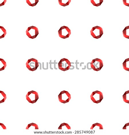 Seamless pattern with red circles in the modern polygonal patterns on white background - stock vector