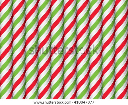 Seamless Pattern with Red Green and White Candy Cane Stripes. Xmas Texture with Candy Canes Background. Festive Vector Illustration. - stock vector